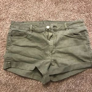 Green American Eagle jean shorts